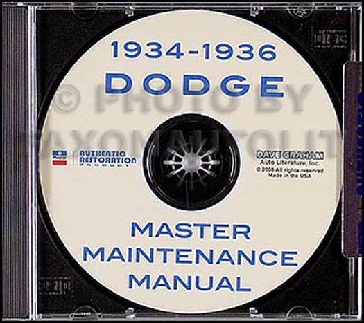1934 1935 1936 Dodge Shop Repair Manual on CD-ROM