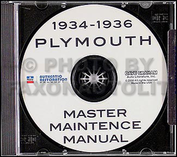 1934 1935 1936 Plymouth Shop Repair Manual on CD-ROM