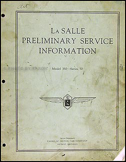 1934 La Salle Preliminary Repair Manual Original