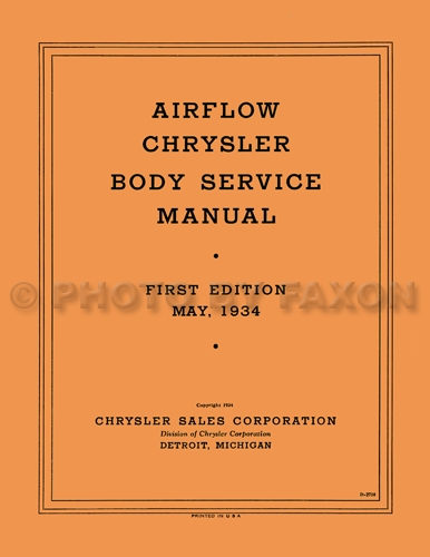 1934-1936 Chrysler & Imperial Airflow Body Shop Manual Reprint