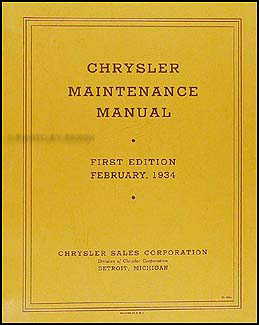 1934 Chrysler Shop Manual Original