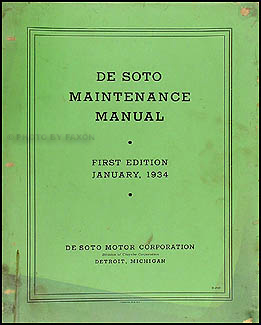 1934 De Soto Airflow Shop Manual Original DeSoto