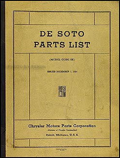 1934 De Soto Airflow Parts Book Original DeSoto