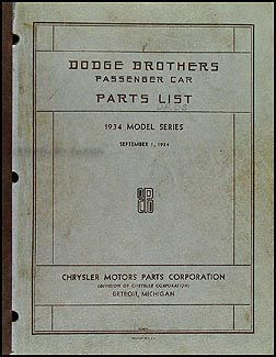 1934 Dodge Car Parts Book Original