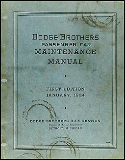 1934 Dodge Car Shop Manual Original