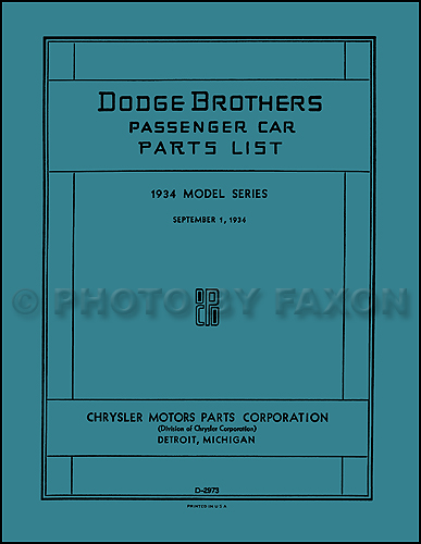 1934 Dodge Car Parts Book Reprint