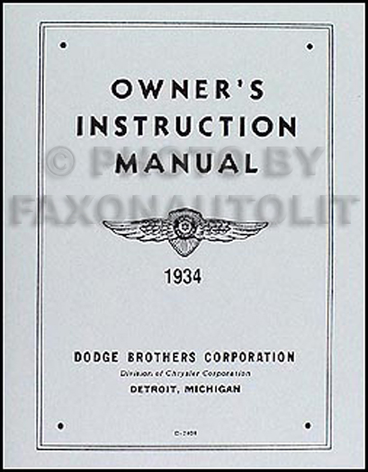 1934 Dodge Car Owner's Manual Reprint