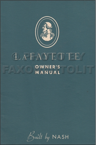 1934 Nash LaFayette Owner's Manual Original
