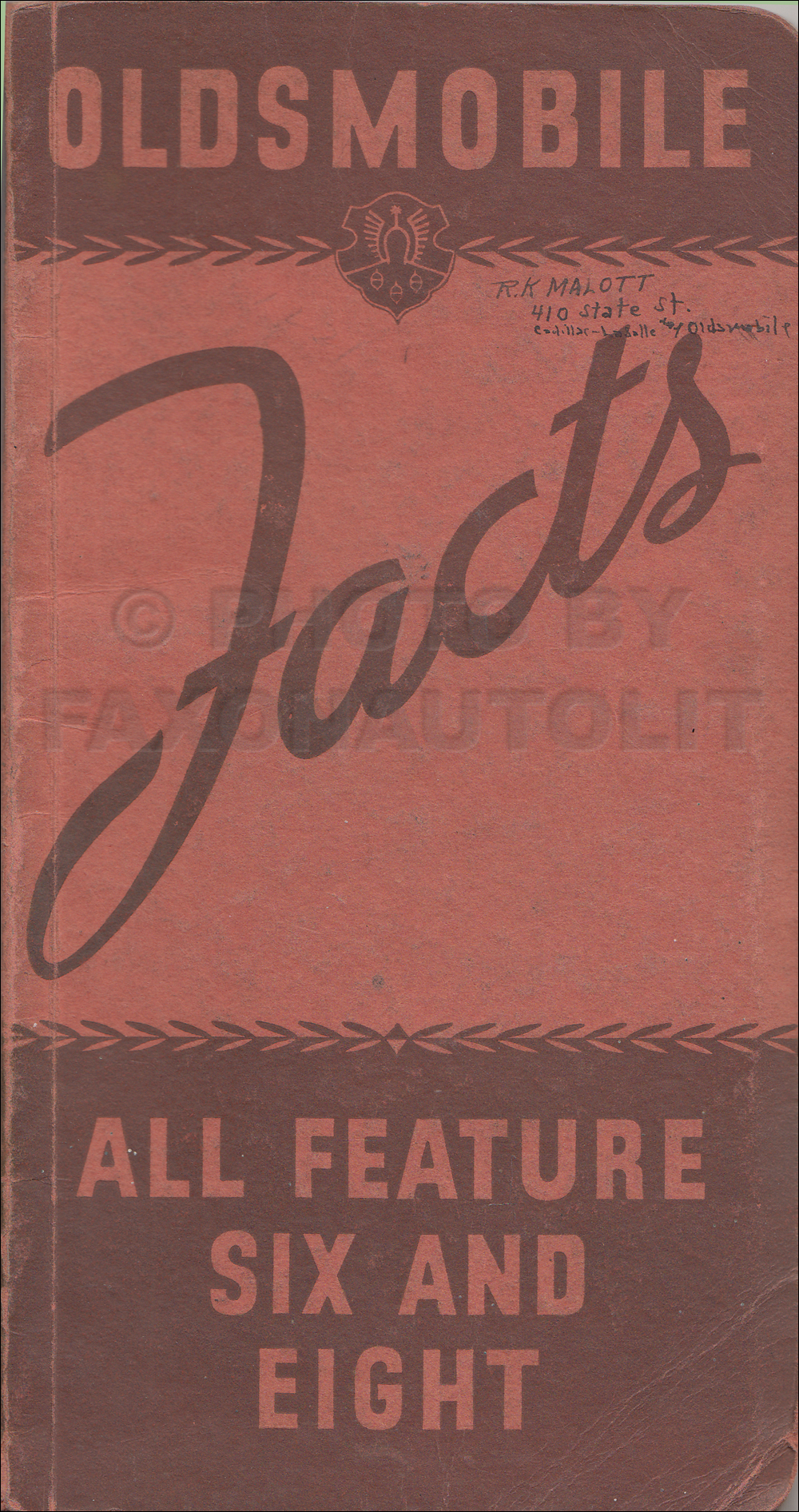 1934 Oldsmobile Facts Book Original