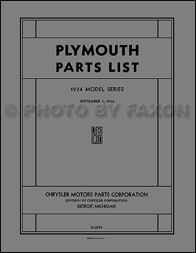 1934 Plymouth Parts Book Reprint