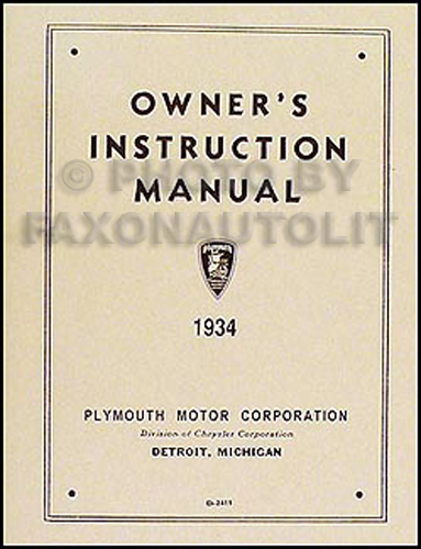 1934 Plymouth Owner's Manual Reprint