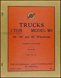 1934 Studebaker W8 Truck Original Parts Book