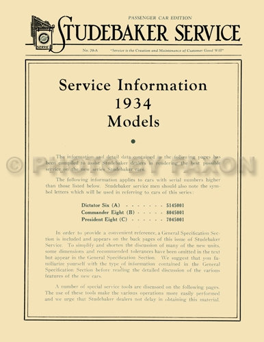 1934 Studebaker Service Manual Reprint Dictator Commander President