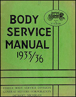 1935-1936 Cadillac & LaSalle Body Repair Manual Original