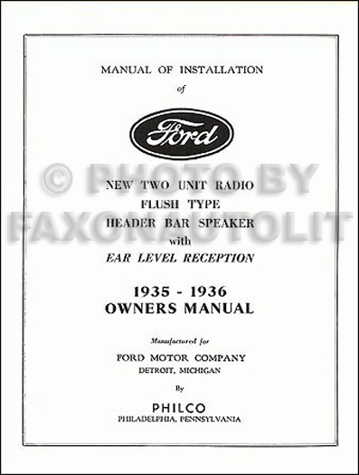 1935-1936 Ford Philco Radio Owner's and Installation Manual Reprint