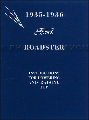 1935-1936 Ford Roadster Convertible Top Owner's Manual Reprint with Envelope