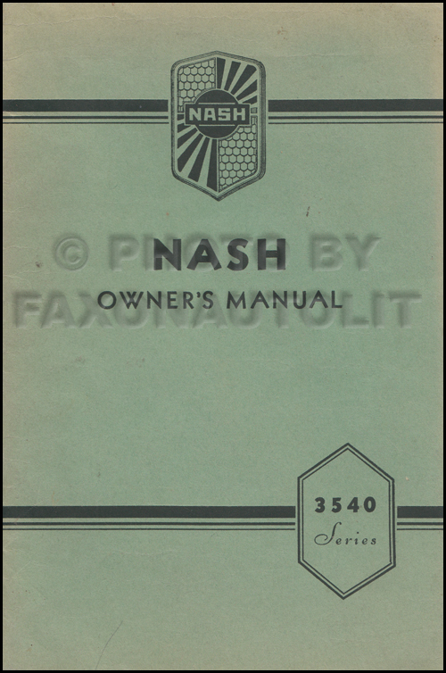 1935-1936 Nash 3540 Owner's Manual Original 400 Series