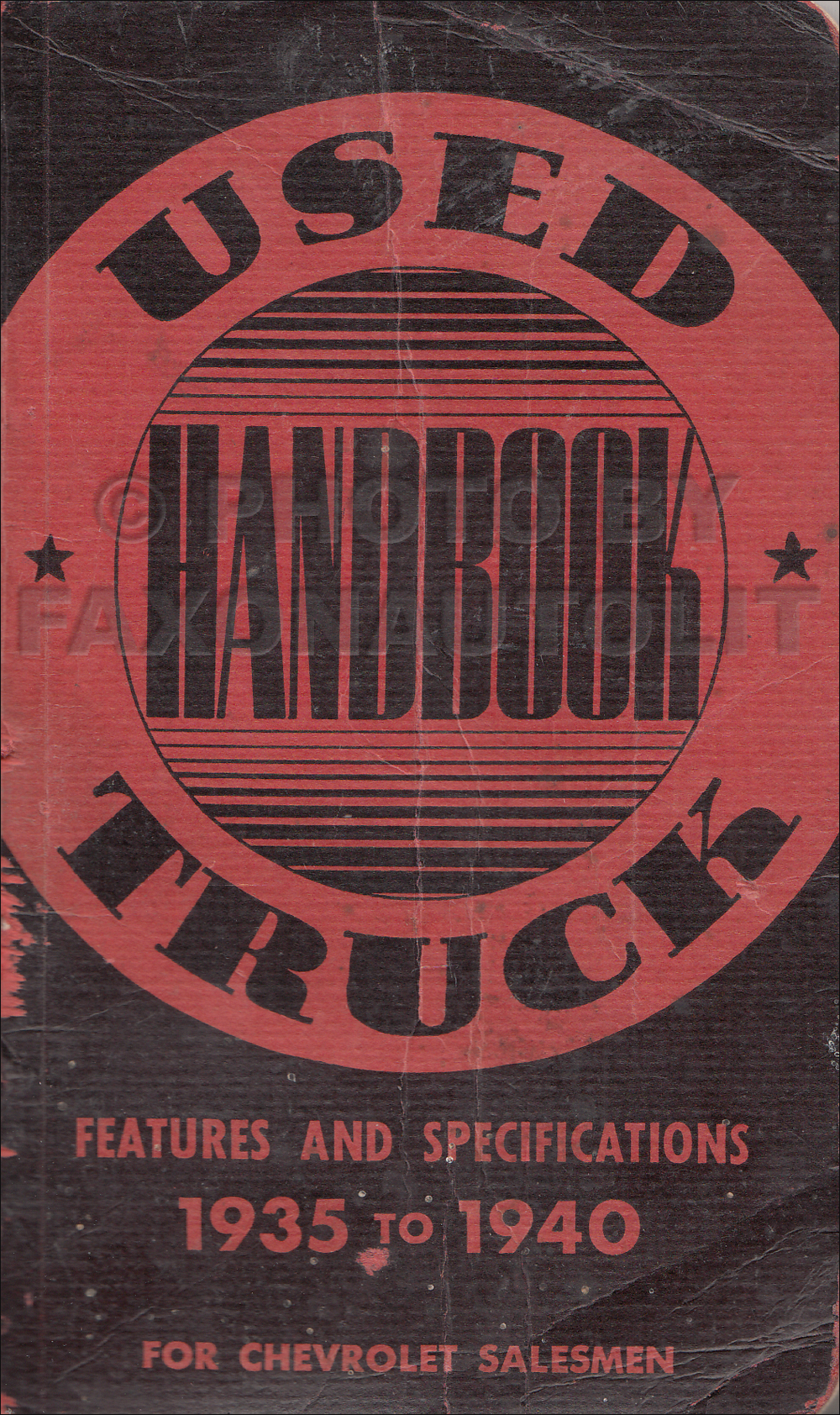 1935-1940 Chevrolet Used Truck Data Book Original