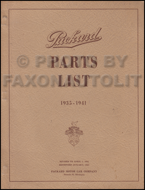 1935-1941 Packard Master Parts Book Original 120, Eight, Super Eight