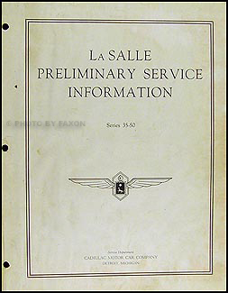 1935 La Salle Preliminary Repair Manual Original