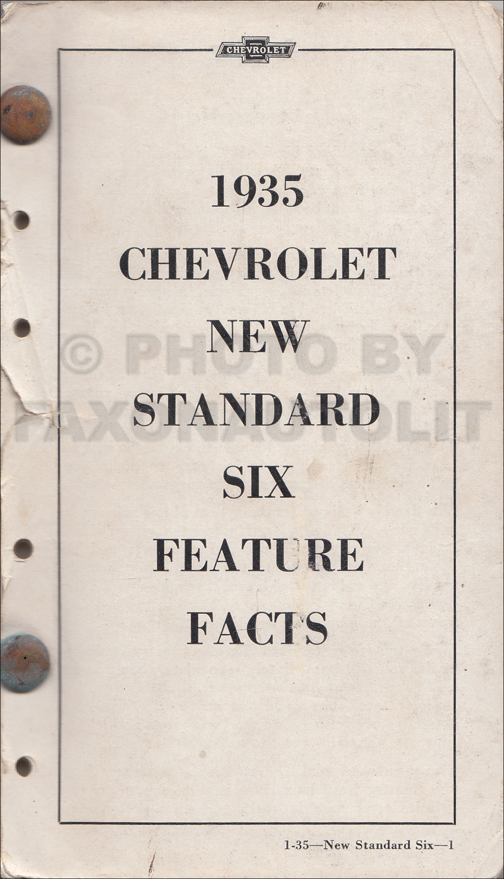 1935 Chevrolet Repair Shop Manual Original Wiring Diagram Car Truck Data Book 19900