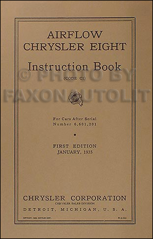 1935 Chrysler Airflow Eight Reprint Owner's Manual 35