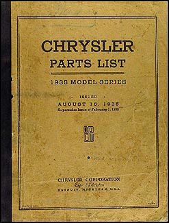 1935 Chrysler Parts Book Original