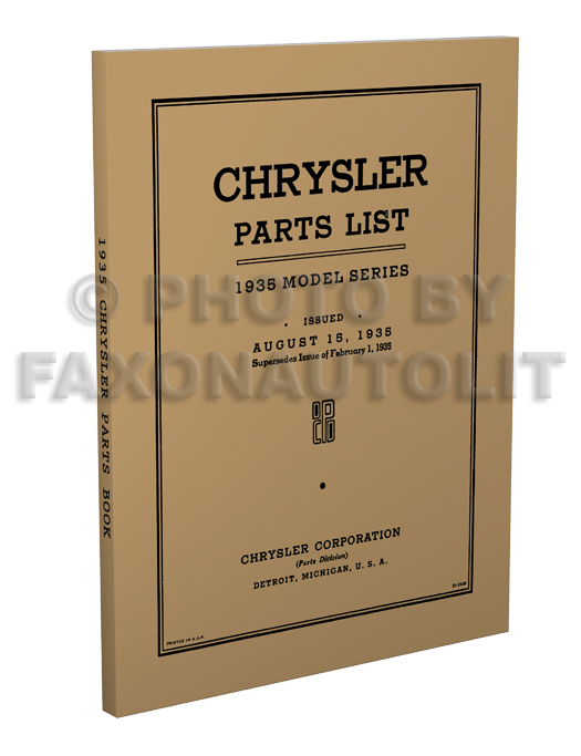1935 Chrysler Parts Book Reprint