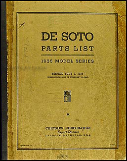 1935 De Soto Airstream & Airflow Parts Book Original DeSoto