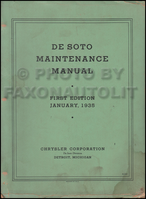 1937 De Soto Shop Manual Original