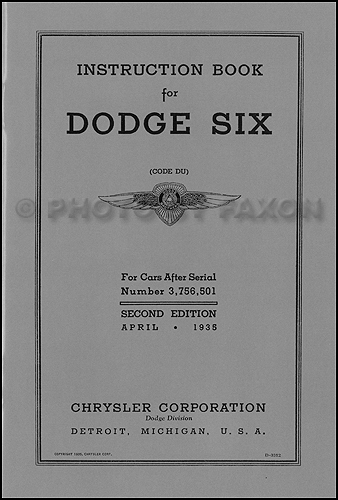 1935 Dodge DU Car Owner's Manual Reprint