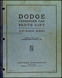 1935 Dodge Car Parts Book