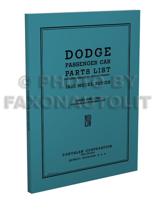 1935 Dodge Car Parts Book Reprint