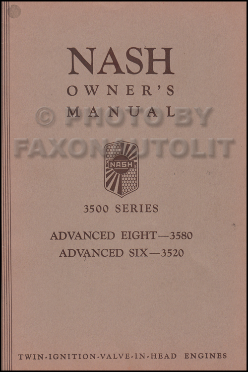 1935 Nash Advanced and Ambassador Owner's Manual Original