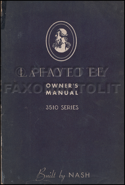 1935 Nash LaFayette Owner's Manual Original