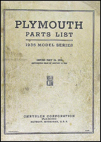1935 Plymouth Parts Book Original