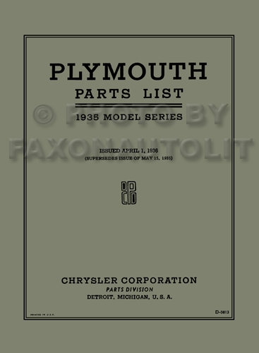 1935 Plymouth Parts Book Reprint