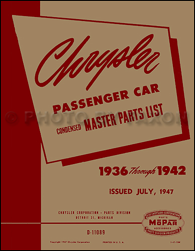 1936-1942 Chrysler Master Parts Book Reprint