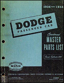 1936-1942 Dodge Car Master Parts Book Original