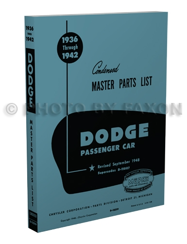 1936-1942 Dodge Car Reprint Parts Book
