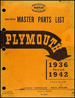 1936-1942 Plymouth Master Parts Book Original