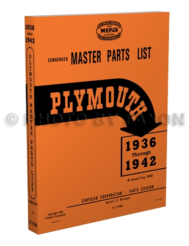 1936-1942 Plymouth Master Parts Book Reprint