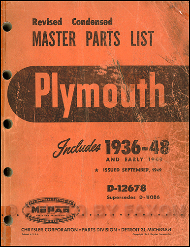1936-1948 Plymouth Master Parts Book Original