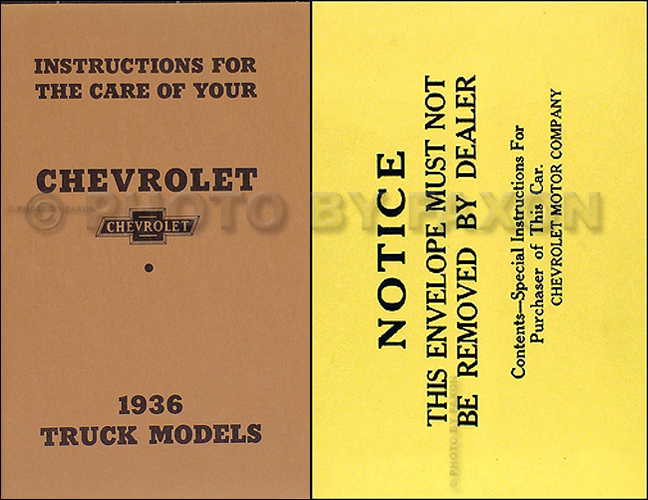 1936 Chevrolet Pickup & Truck Reprint Owner's Manual Package