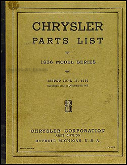 1936 Chrysler Parts Book Original