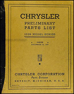 1936 Chrysler Preliminary Parts Book Original