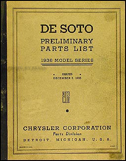 1936 DeSoto Car Preliminary Parts Book Original