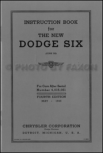 1936 Dodge Car D2 Owner's Manual Reprint