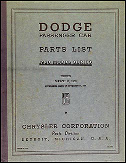 1936 Dodge Car Parts Book Original