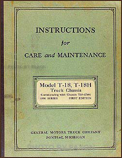 1936 GMC T-18, T-18H 1-1/2 ton Repair Manual Original